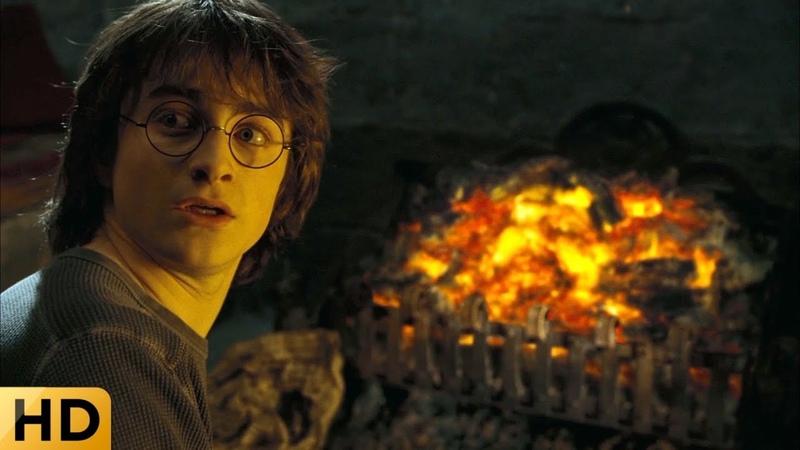 Гарри говорит с лицом из углей Сириуса Блэка. Гарри Поттер и Кубок огня.