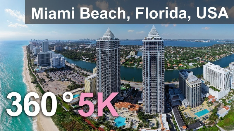 Miami Beach Florida USA Aerial 360 video in 5K