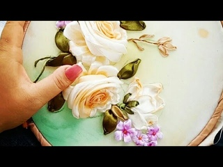 DIY Thu ruy bng hoa hng//Ribbon embroidery Rose