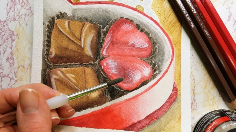 CHOCOLATE BOX Valentine's Day Watercolor Knoel's Nook
