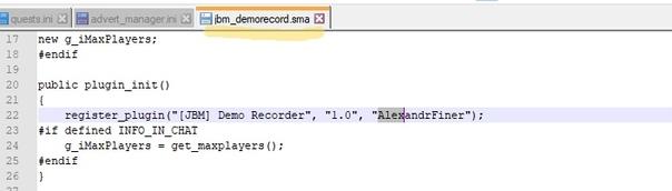 На скриншоте просто ник автора в графе регистрации плагина, это отображается только при вводе amx_plugins в консоли сервера. Не является рекламой, просто сведения об авторе!
