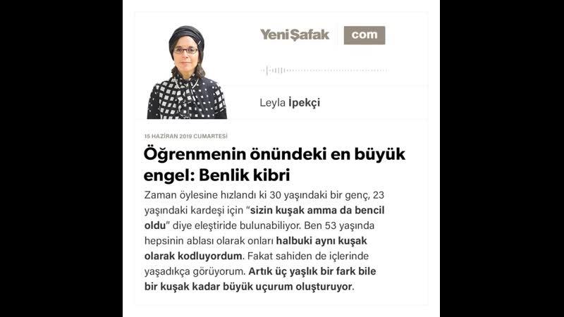 Leyla İpekçi Öğrenmenin önündeki en büyük engel Benlik kibri 15 06 2019
