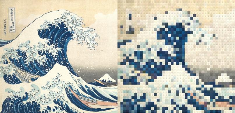 « Большая волна у Канагавы» Кацушики Хокусая - (60 строк)