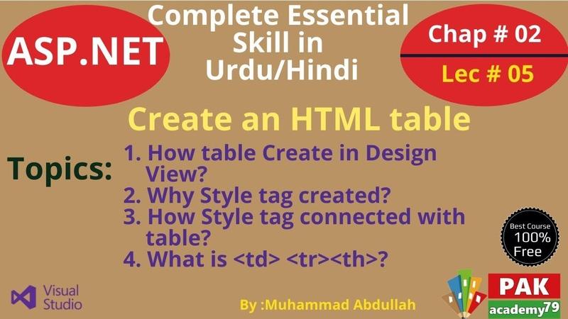 ASP.Net Create an HTML table [Ch 02 | Lec 05]