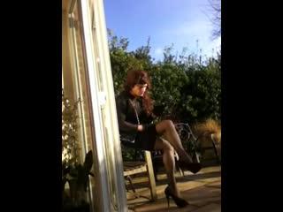 Tgirl Paula all in black. Seamed hold ups  peep toe heels