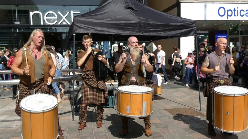 Bagpipes Kilts And Tribal Drums Music 2019 Medieval Fair Perth Perthshire Scotland