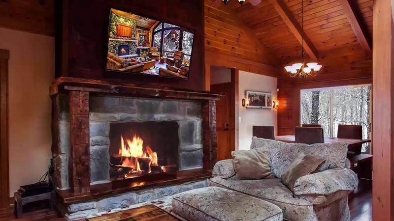 6 hours Cozy Log Cabin Snow with Fireplace Crackling Fire Sounds