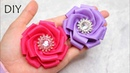 How To Make Kanzashi Flower Ribbon   Hand Embroidery Ribbbon Flower Work   Amazing Ribbon