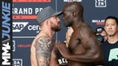 Out of character Cheick Kongo shoves Ryan Bader at Bellator 226 ceremonial weigh-in