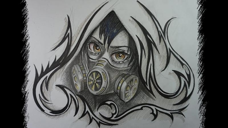 аниме, манга, девушка в противогазе рисунок маска-сан