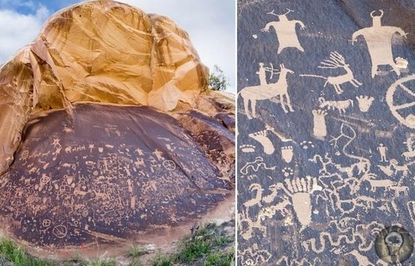 «Газетный камень» - «самиздат» индейцев, рассказывающий об их жизни две тысячи лет назад Утес, усеянный доисторическими петроглифами, современные ученые назвали «газетным камнем». И