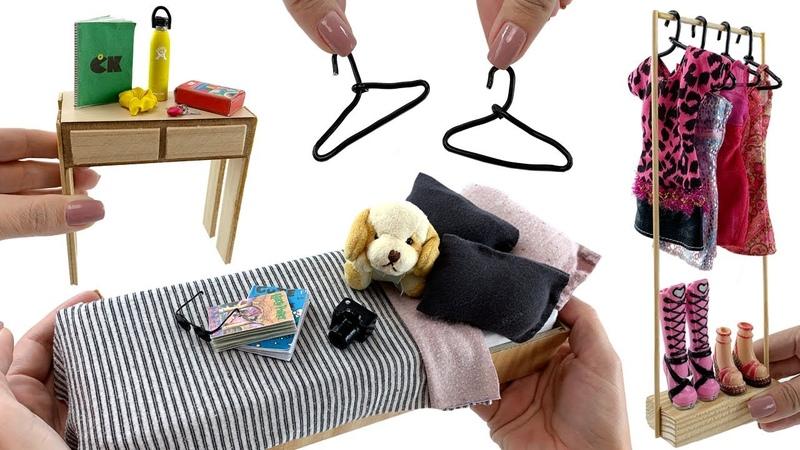 3 Miniaturas fáceis de fazer para um Quarto de Adolescente DIY HACKS para Boneca Barbie