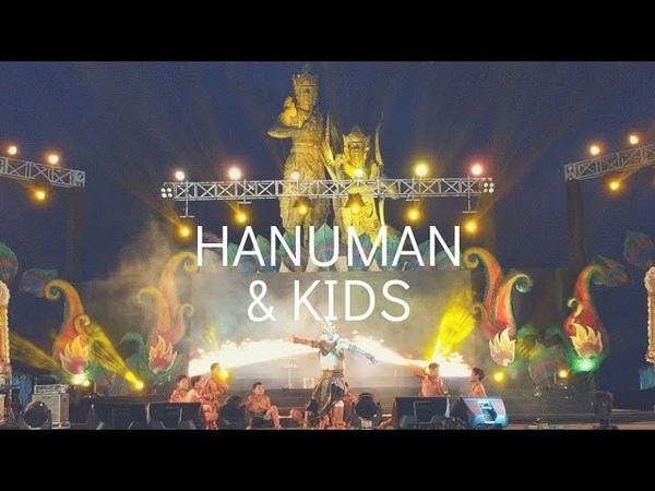 Хануман и его дети горящие в огне на фестивале в Нуса Дуа Pesona Nusa Dua Fiesta 2019