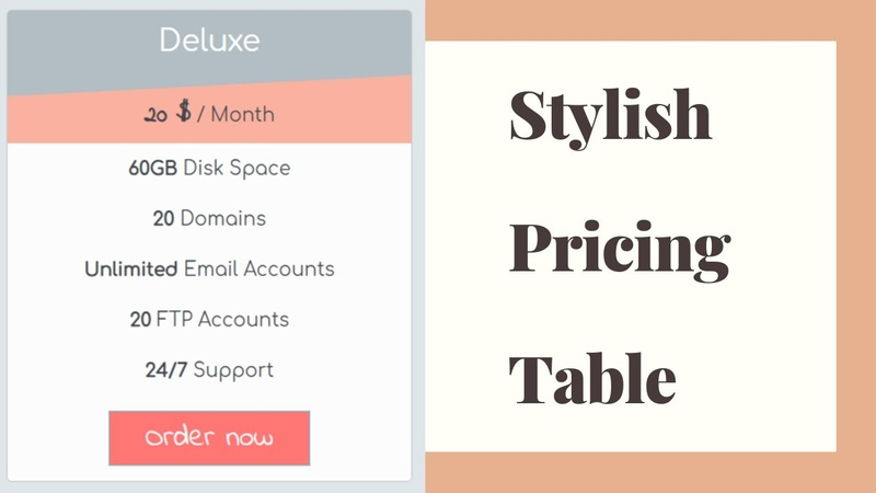 Stylish Responsive Pricing Table With HTML and CSS