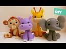 Safari | Tutorial Fácil - Jirafa° Mono ° Hipopótamo ° Elefante - Porcelana fría - Plastilina