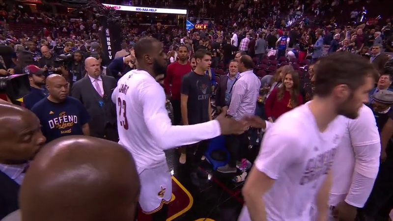 LeBron James handshakes with Kyrie, Kevin Love, Tristan Thompson and JR Smith - NBA Finals