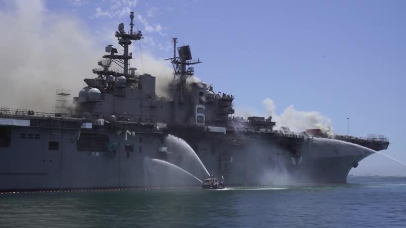 USS Bonhomme Richard (LHD 6) Firefighting Efforts, July 12th