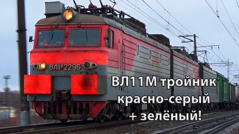 Красно серый зелёный Электровоз ВЛ11М 229 227А с грузовым поездом БМО ж д