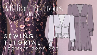 Buttoned Dress And Blouse Sewing Tutorial  Million Buttons  + Pattern Download