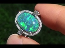 Lightning Ridge Mined Natutal Australian Black Opal Diamond 14k Gold Ring - C157