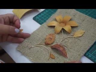 Мастер-класс из бересты Пано  Сибирские лилии от Томиловой Елены