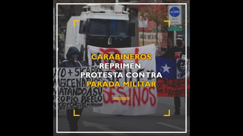 Carabineros reprimen protesta durante Parada Militar
