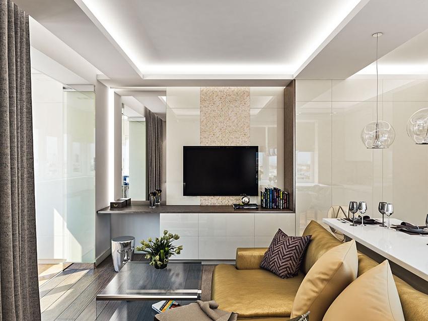 Проект квартиры-студии 35 м с утепленным балконом.