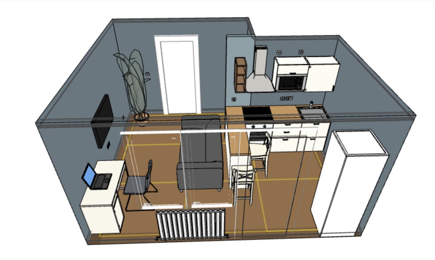 Проект комнаты в студии.