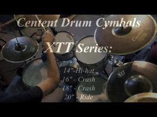 Centent Drums Cymbals XTT Black Tiger Series (2xCrash, Hi-hat, Ride) played on Amati Drums