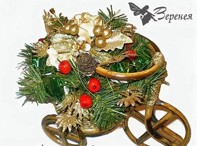 """Букет из конфет """"Новогодний велосипед"""", как сделать новогодний букет из конфет своими руками для начинающих фото пошагово,"""