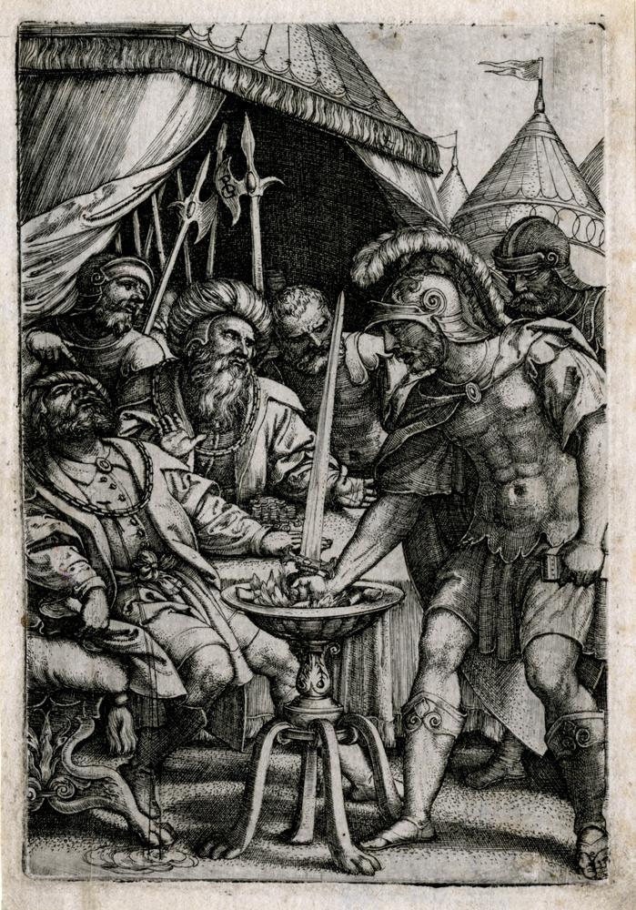 1535-1537 год. Муций Сцевола; стоит слева, держась за руку в огне; Король Порсена сидит под балдахином