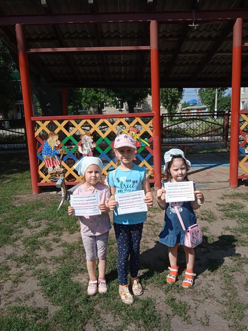 Петровские волонтёры и дошколята провели акцию «Дети летать не умеют!»