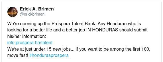 Мы открываем банк талантов Próspera. Любой гондурасец, который ищет лучшую жизнь и лучшую работу В ГОНДУРАСЕ, должен представить свою информацию:info.prospera.hn/talentУ нас чуть меньше 15 новых рабочих мест… Если вы хотите быть в числе первых 100, действуйте быстро! #hondurasprospera)