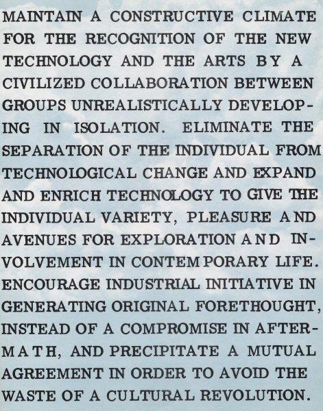 E.A.T., Statement of purpose, 1967