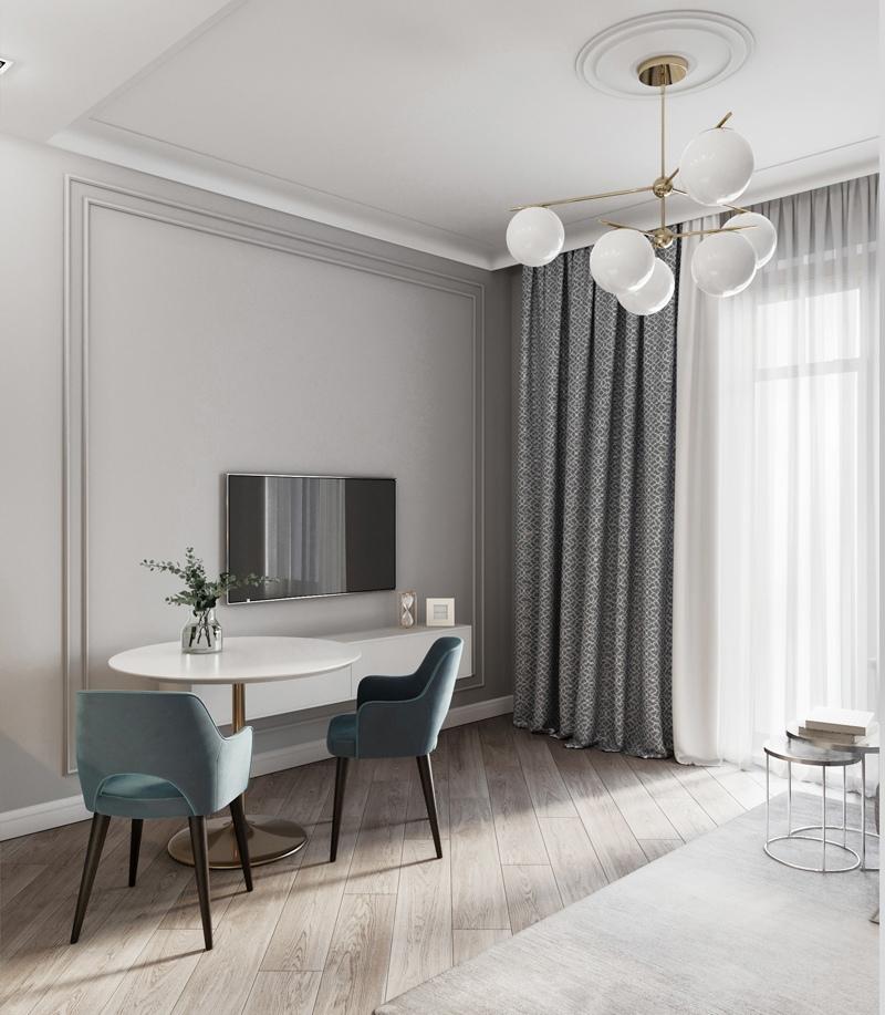 Проект небольшой квартиры-студии типовой планировки.