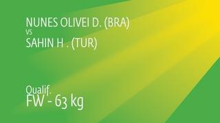 Qual. FW - 63 kg: H. SAHIN (TUR) df. L. NUNES DE OLI (BRA) by FALL, 2-5