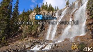 4K Nature Scene: Calming Mountain Waterfall 1 HR Static Video + Stereo Sounds - Jasper NP, Alberta