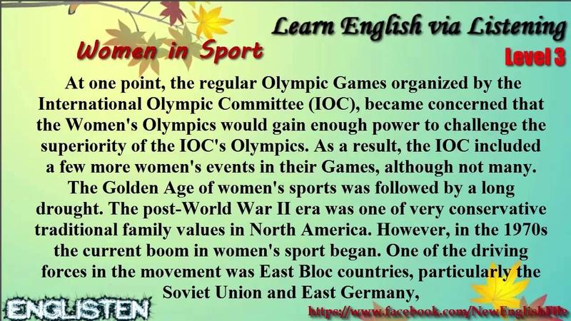 Learn English via Listening Level 3 Unit 79 Women in Sport