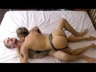 Teen couple PASSIONATE PEGGING with new leather STRAP ON (FULL)